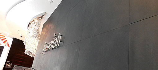Jumeirah Frankfurt leather wall concierge