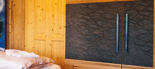 Cupboard leather wall-covering
